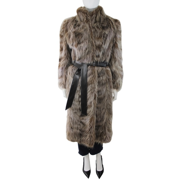 Vintage Jackets & Blazers - Vintage Raccoon Fur Long Belted Waist Trench Coat